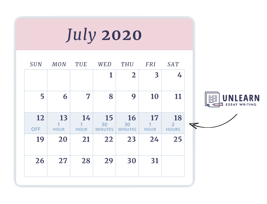 calendar graphic unlearn essay writing course